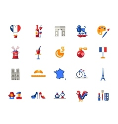 France travel icons and elements with famous vector