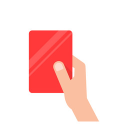 hand holding red football card vector image
