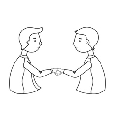 Handshaking of businessmen icon in outline style vector