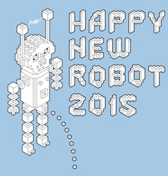 happy new robot 2015 vector image vector image