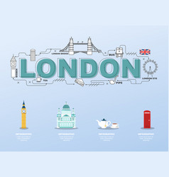 london sightseeing tour with landmark icons in vector image vector image