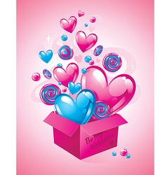 Magic box with hearts and sweets valentines day vector