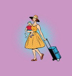 mom traveler with a child vector image vector image