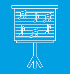 Musical notes on stand icon outline style vector