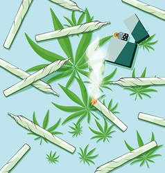 Roll-ups with hashish and lighter on a table vector image