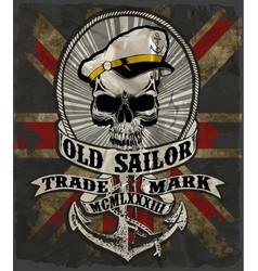 sailor man skull tee graphic design vector image