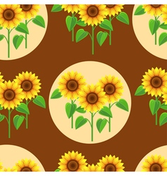 Seamless pattern with sunflowers and circles vector