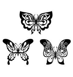 Set black white butterflies of a tattoo vector image