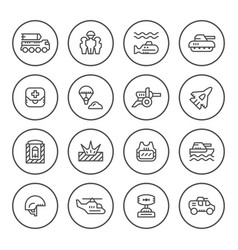 set round line icons of army vector image