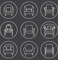 Sofa Icons Set White Line On Black Background vector image vector image