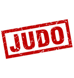 Square grunge red judo stamp vector