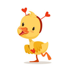 Sweet yellow duckling in a red headband with vector