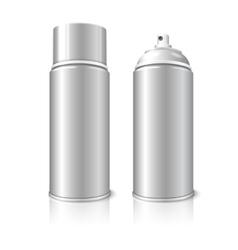 Two realistic blank aerosol spray metal 3d vector