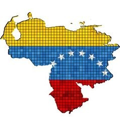 Venezuela map with flag inside vector image vector image