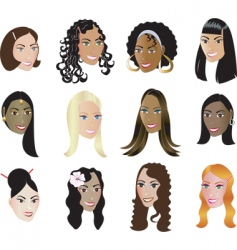 women faces vector image vector image
