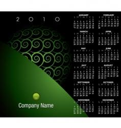 2010 green swirl calendar vector image