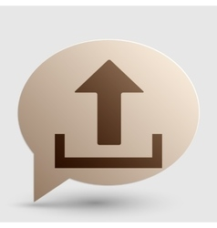Upload sign  brown gradient icon on vector