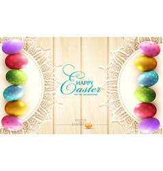 background with a circle of lace and easter eggs vector image
