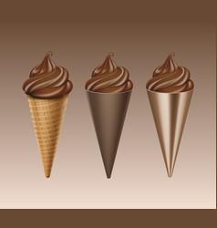 Set of chocolate soft serve ice cream waffle cone vector