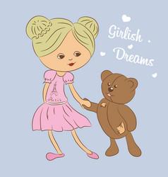 color  girl with teddy bear vector image