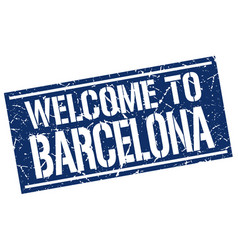 Welcome to barcelona stamp vector