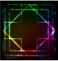 Shining lights rainbow colors frame vector