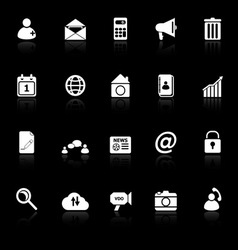 Mobile phone icons with reflect on black vector