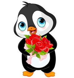 Cute valentine day penguin vector