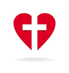 Heart with cross church logo template vector