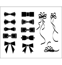 Bow set black and white silhouette vector