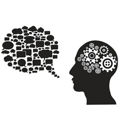 head gears with speech bubble vector image