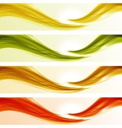 Set of glossy wave banners vector