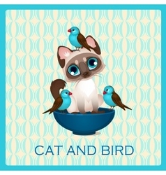 Cute kitten and birds in the blue cup vector