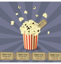Popcorn bowl and ticket vector