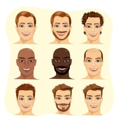 Set of male avatar with different hairstyles vector