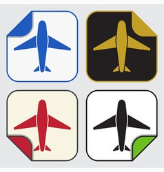 Four square sticky icons - airplane vector
