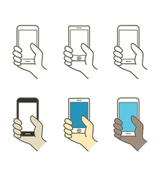 Different modern mobile gadgets lineart color vector