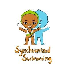 Cartoon girl synchronized swimmer vector