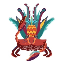 Exotic tropical crab with pineapple vector