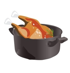 Delicious chicken in the pan icon food vector