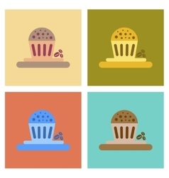 Assembly flat icons coffee chocolate cake vector