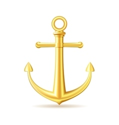 Gold anchor on white background vector