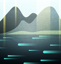 Abstract retro landscape with texture Lake and vector image vector image