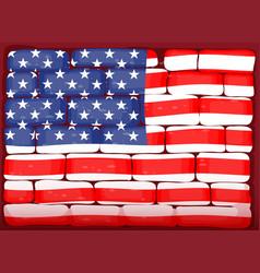 America flag on brickwall vector
