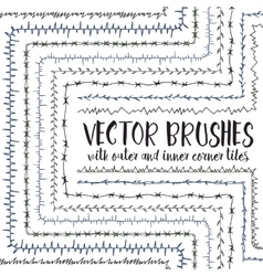 Brushes with inner and outer corner tiles vector