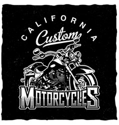 california custom motorcycles poster vector image vector image
