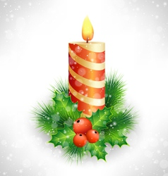 Christmas candle with holly and pine on grayscale vector image