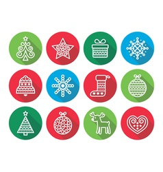 Christmas flat icons icons - Xmas tree present vector image vector image