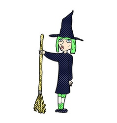 Comic cartoon witch vector