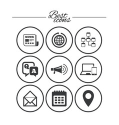 communication icons news chat messages signs vector image vector image